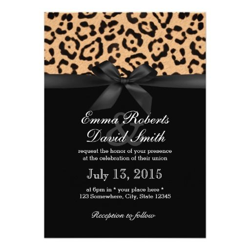 Modern Leopard Print Black Ribbon Wedding Card