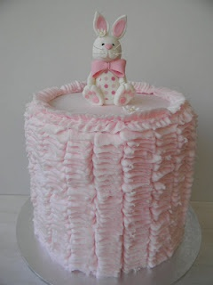 Pink Bunny Ruffle Cake by Just Call me Martha
