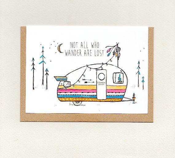 NOT all who WANDER are LOST . mini print . art card . greeting card . caravan van camper trailer . gypsy hippie wanderer boho . australia