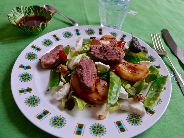 Spiced Duck Salad with Grilled Peaches