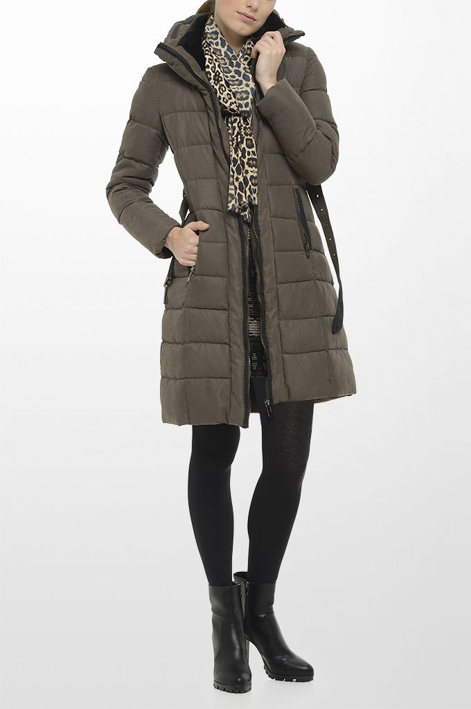 Sarah Lawrence - quilted short jacket with hidden hood & fake fur details, jacquard dress with 3/4 sleeve, printed scarf.