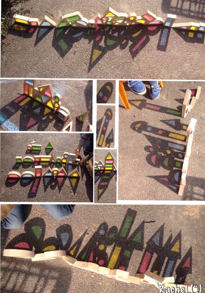 Using colour blocks to explore shadow in the Early Years.