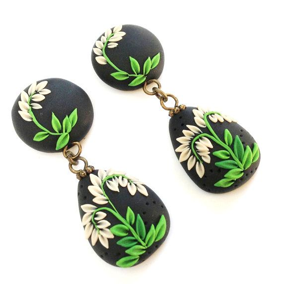 polymer clay earrings, teardrop earrings, green and black earrings, polymer clay jewelry, boho jewelry, polymer applique jewelry on Etsy, $25.00