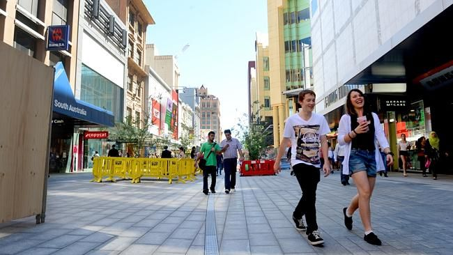 The New-Look Rundle Mall is unveiled over the October Long Weekend in front of Gerard McCabe's Rundle Mall Store