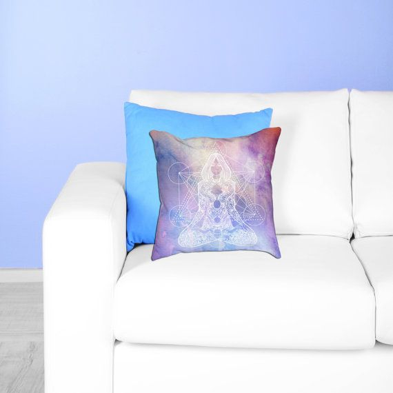 Merkaba Meditation Pillow -  Goddess Meditation Boho Watercolor Mandala Throw Pillow - Bohemian Decor Gift - yoga studio bedroom sofa accent print by Varvara Gorbash