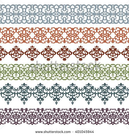 Seamless Horizontal Vector Borders With Caucasian Motifs