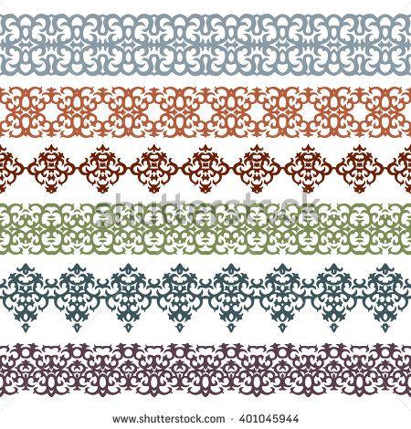 Seamless Horizontal Vector Borders With Caucasian Motifs