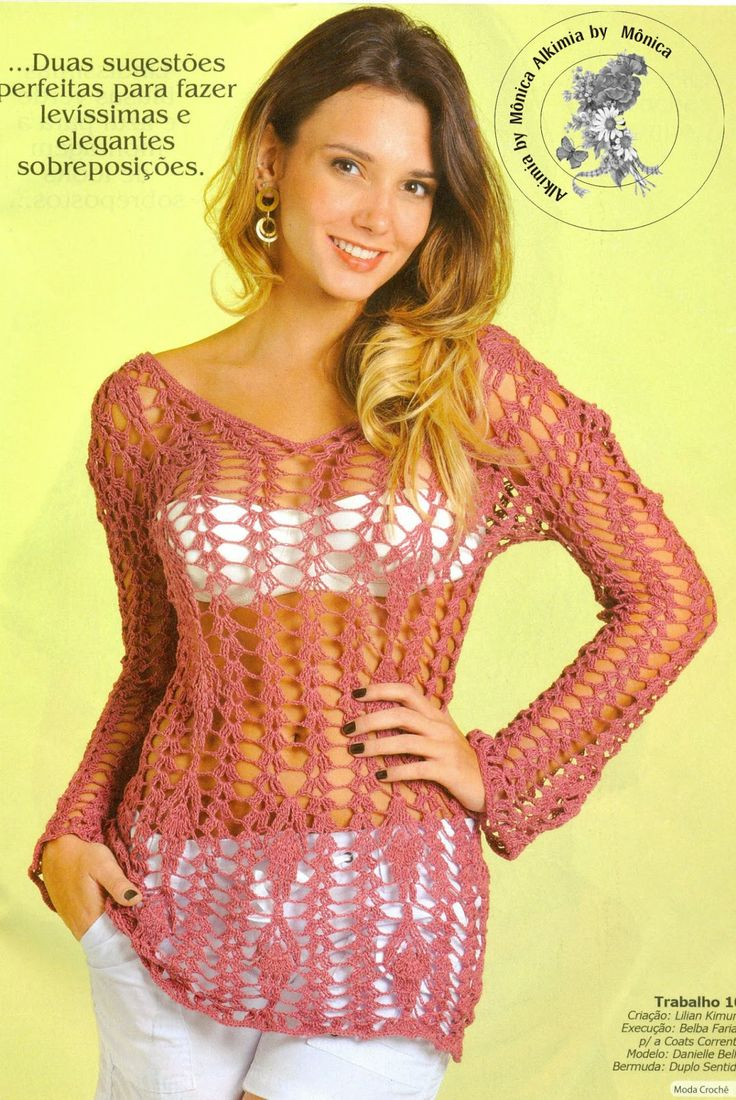 Alkimia: blusa de croche com gráfico - tam. 38/40
