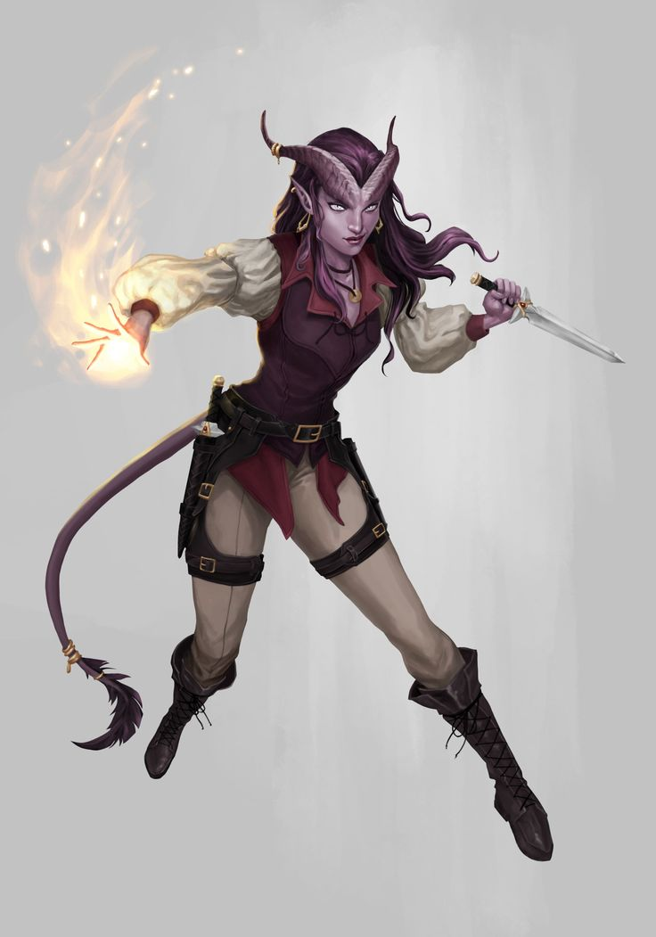 female tiefling, demon, devil, medieval fighter, thief, burglar, light warrior From rpg-settings