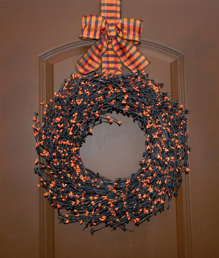 Halloween Wreath - Halloween Berry Wreath - Wreath hanger included. $69.00, via Etsy.