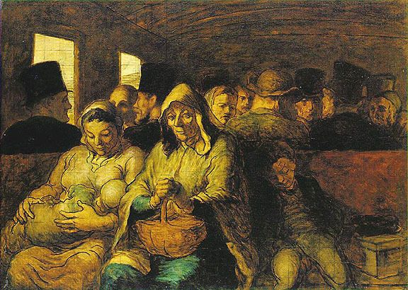 Honore Daumier, Third-Class Carriage, 1862, Oil on canvas, New York
