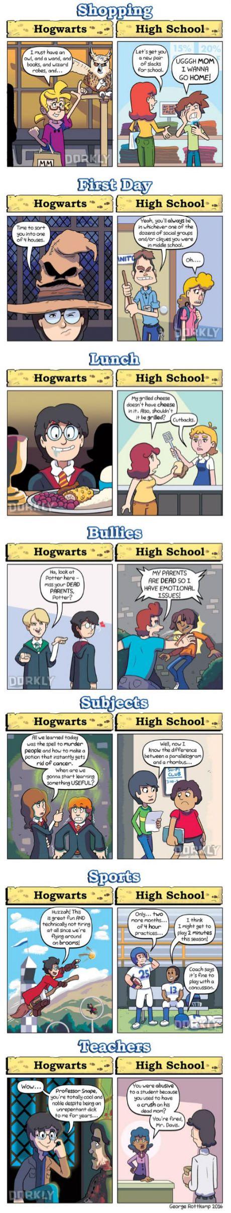 Harry Potter Schools vs. Real High School