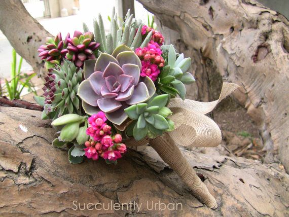 This is a fabulous alternative to the traditional bouquet. Succulents are so unique and beautiful, and the colors in this are still vibrant and exciting. Wedding succulent bouquet Succulent bridal by SucculentlyUrban, $175.00