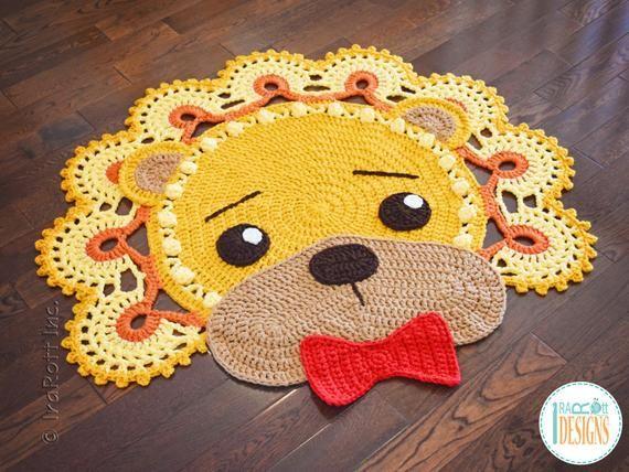 Crochet Pattern Lion Leonardo Rug Pdf Crochet Pattern With Etsy Crochet Rug Patterns Crochet Patterns Red Heart Super Saver Yarn