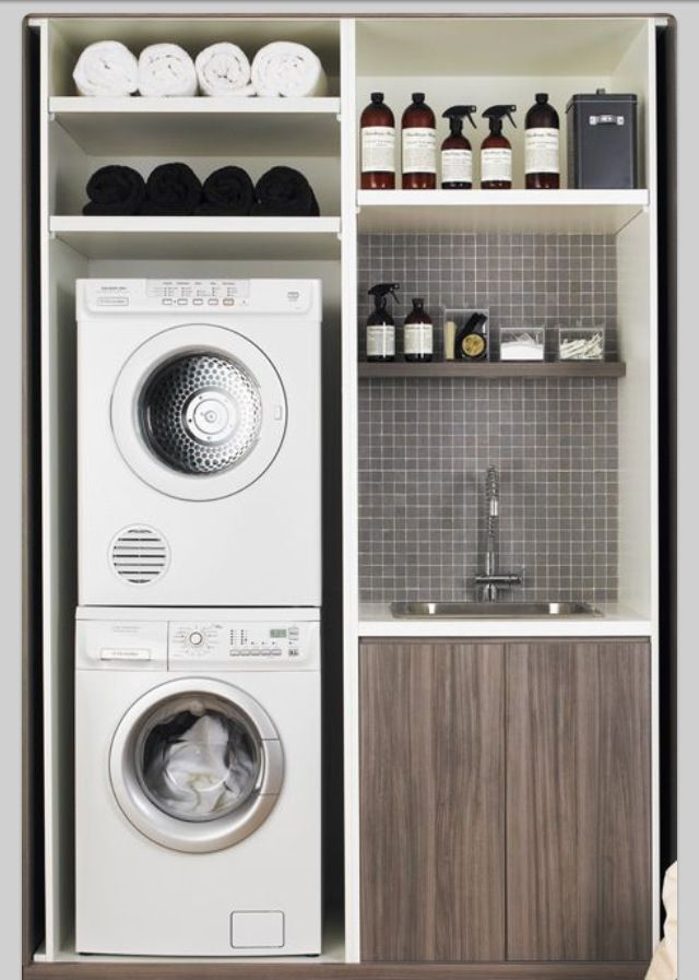 small laundry room -shelf or cabinet above stacked washer/dryer?