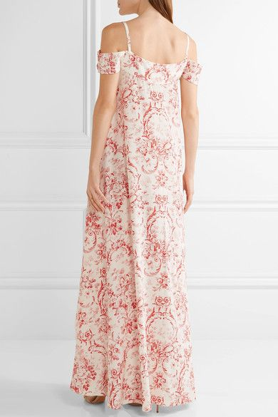 Vilshenko - Elvira Cold-shoulder Printed Silk Crepe De Chine Maxi Dress - Cream