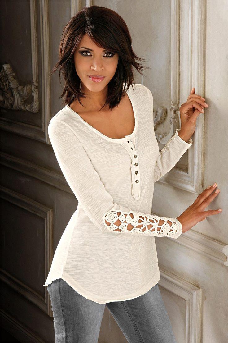Women's Clothing Online - Heine Top with Crochet Detail - EziBuy Australia