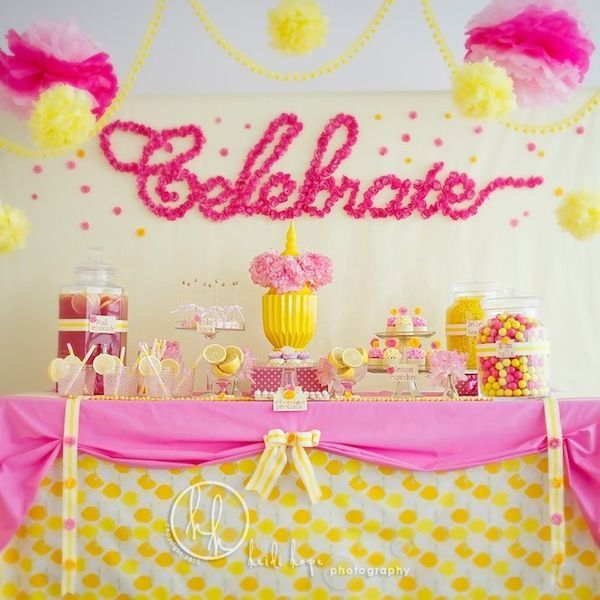 {Pink + Yellow} Dessert Table by Sweet Indulgence | photo by http://heidihope.com/