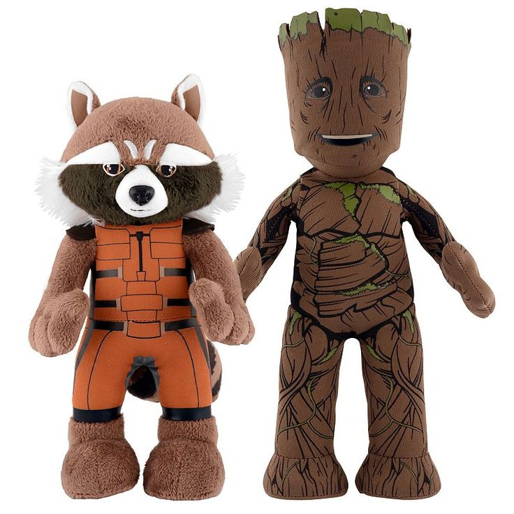 Marvel Guardians of the Galaxy Dynamic Duo 10-in. Plush Rocket Raccoon & 11-in. Plush Groot by Bleacher Creatures, Multicolor