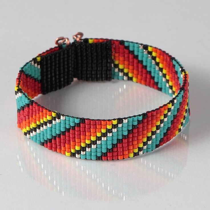 Native American Style Rainbow Bead Loom Bracelet - Artisanal Jewelry - Southwestern - Western Jewelry - Beaded Bohemian - Tribal - Boho by PuebloAndCo on Etsy