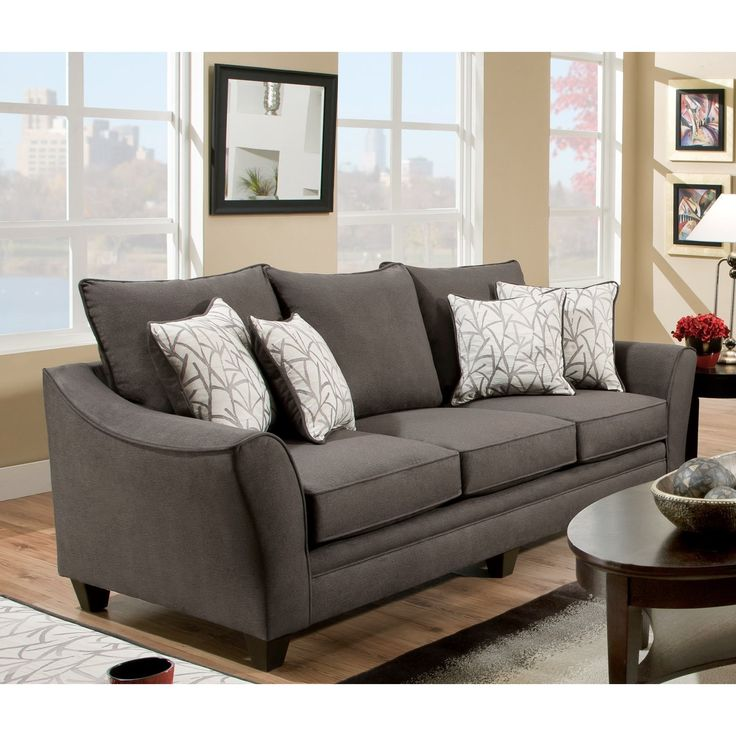 Casual elegance meets comfortable design in this Flannel stationary Dark Grey sofa set