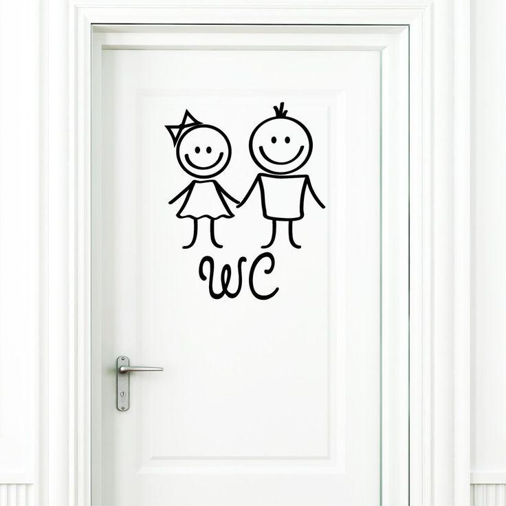 """Wandtattoo Loft """"WC Aufkleber"""" Mann und Frau in SCHWARZ Türaufkleber Badezimmer Toilette Türschild Sticker: Amazon.de: Küche & Haushalt"""