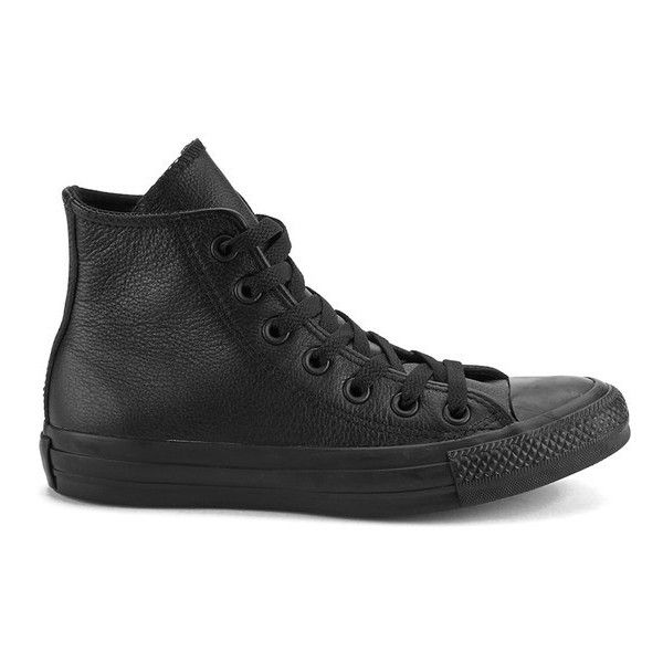 Converse Unisex Chuck Taylor All Star Leather Hi-Top Trainers - Black... (5.690 RUB) ❤ liked on Polyvore featuring shoes, sneakers, converse, black, converse high tops, leather high top sneakers, leather shoes, leather high tops and converse shoes