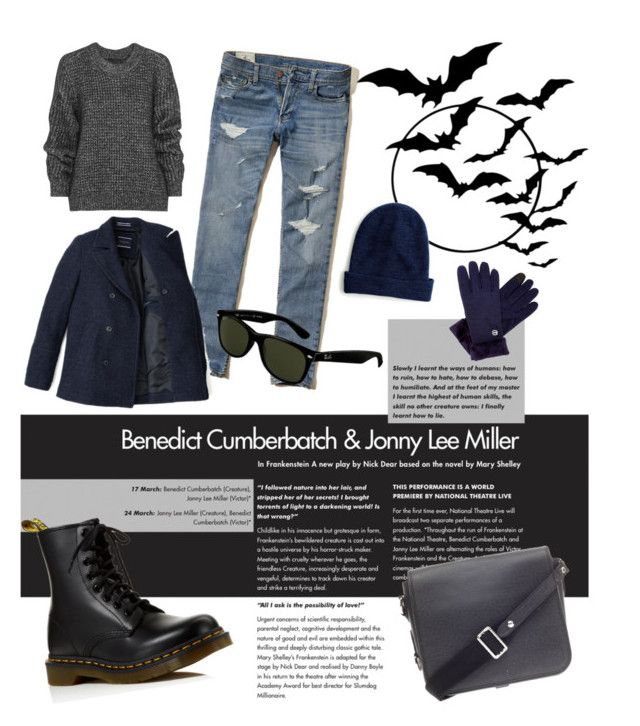 """""""Winter Male"""" by ibuperi on Polyvore featuring Hollister Co., Belstaff, Dr. Martens, J.Crew, Ray-Ban, Free Country and Louis Vuitton"""