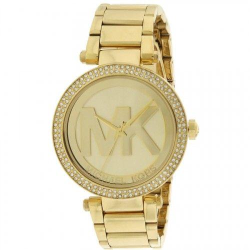 Relogio feminino Michael Kors Parker Logo Glitz Gold-Tone, MK5784