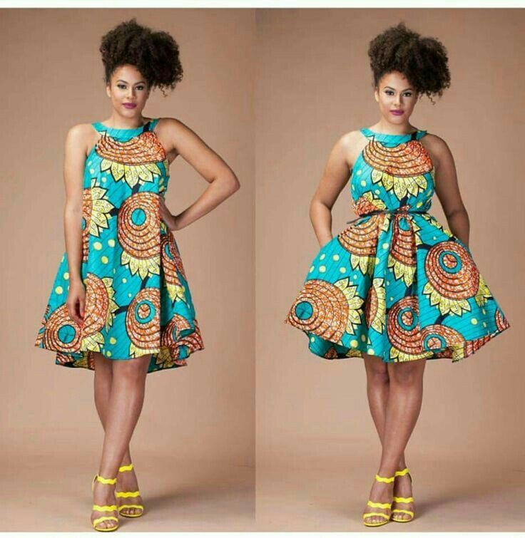 African A-line dress with por without belt.