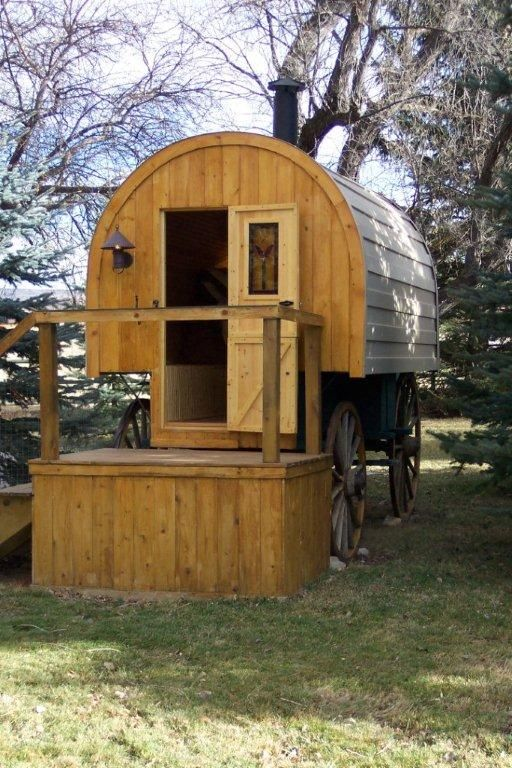 """This is """"very close"""" to one of my childhood dreams - to live in a Conestoga Wagon. My other dream was to live in a lighthouse. Funny, I never realized how small the wagon would be or how big a lighthouse really is. It was all from the perspective of a child."""
