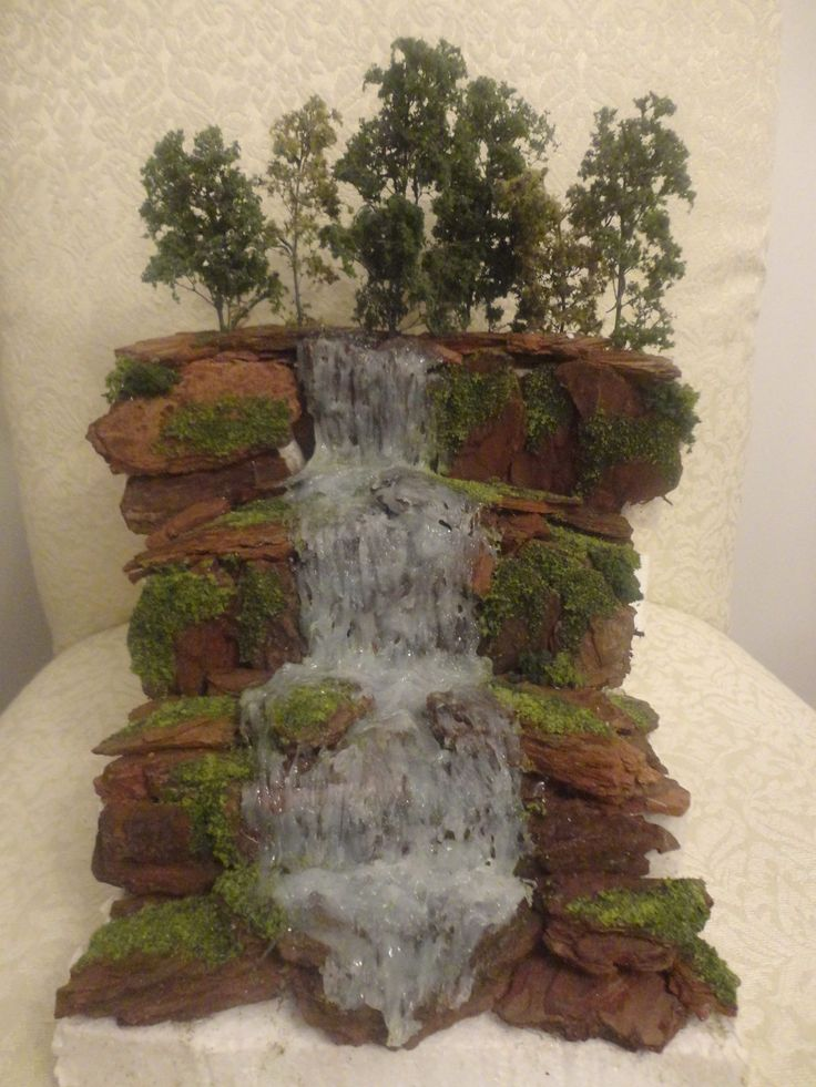 USE HOT GLUE FOR THE WATER FEATURE