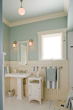 love the blue on the walls with cream wainscot.