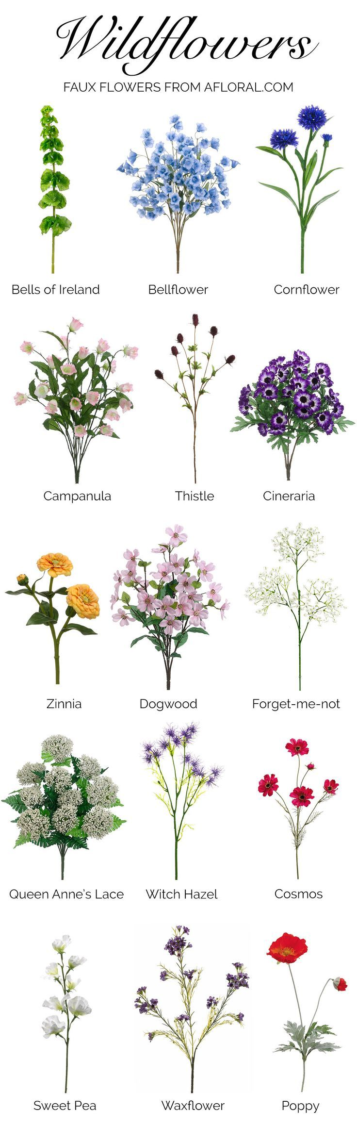 Thinking about using wildflowers for your wedding, but not sure what to choose? Here is a helpful list of wildflowers! Can you believe these are faux from http://afloral.com?! You can find these and more in our miscellaneous and unique wedding stems. #fauxflowers