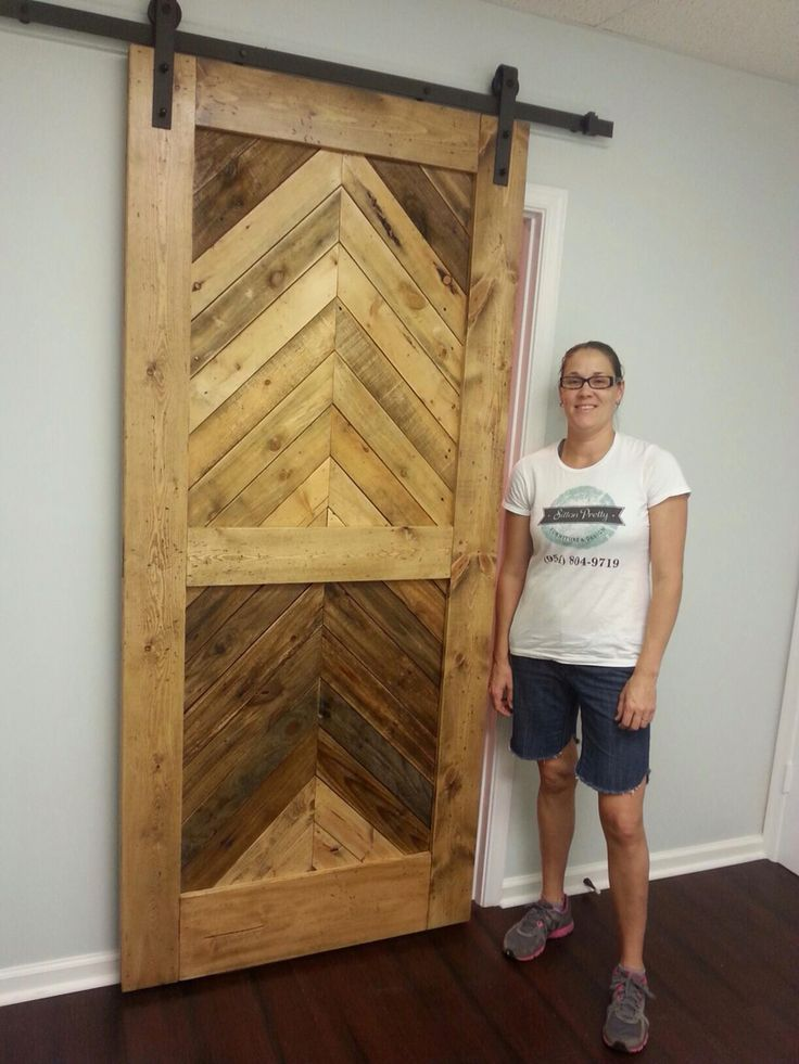 Custom chevron barn door with pallet wood new wood for Wood interior barn doors