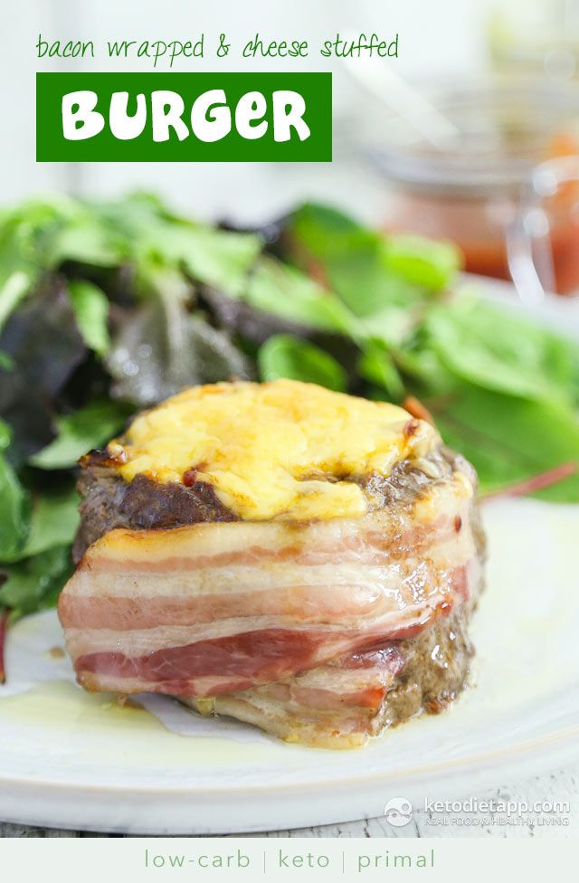Bacon Wrapped Cheese Stuffed Burgers (low-carb, keto, primal
