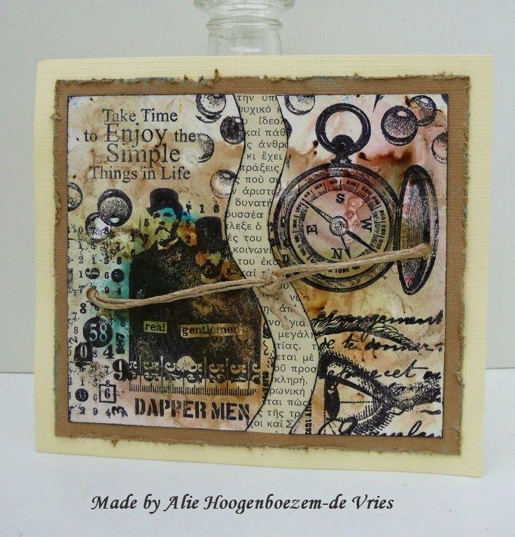 Alie Hoogenboezem-de Vries: Real gentlemen...stamped card and bister