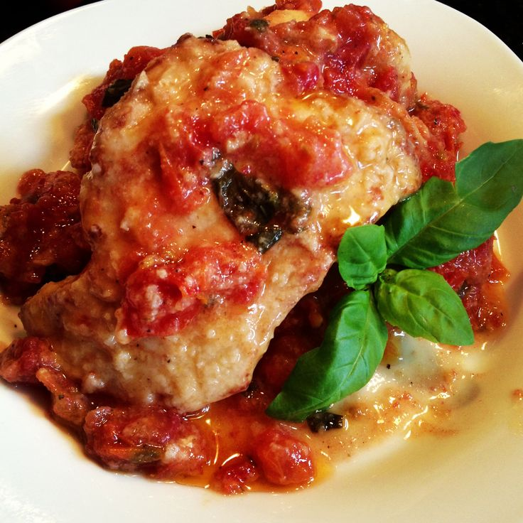 Bruschetta Chicken! The chicken is lightly floured and browned on each ...