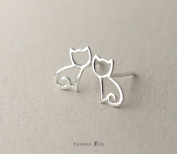 Hey, I found this really awesome Etsy listing at https://www.etsy.com/listing/252007348/cat-stud-earrings-sterling-silver-cat