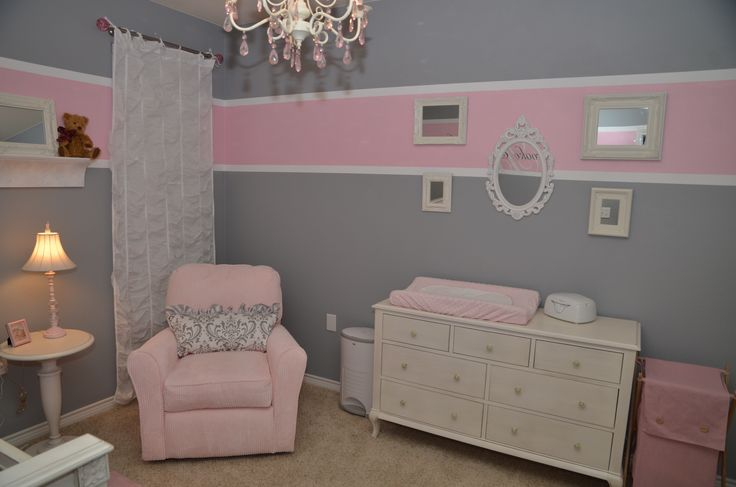 Baby room pink grey nursery ideas pinterest baby for Living room ideas pink and grey
