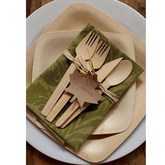 75 Disposable Wooden Utensils, 25 Knifes, 25 Forks,25  Spoons, Eco Friendly, Wooden Silverware, Tableware,  Wood Silverware, Wedding by Annsbuttonandbows