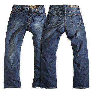 The Original Rokker Jeans are what started it all. They are constructed of heavy duty 13oz medium blue, stonewashed denim with an internal layer of 100% Scho...