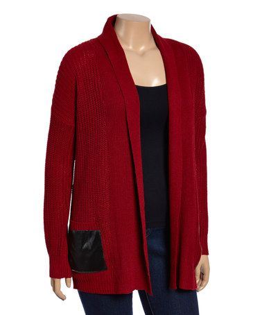 Look at this #zulilyfind! Cranberry Pocket Open Cardigan - Plus #zulilyfinds