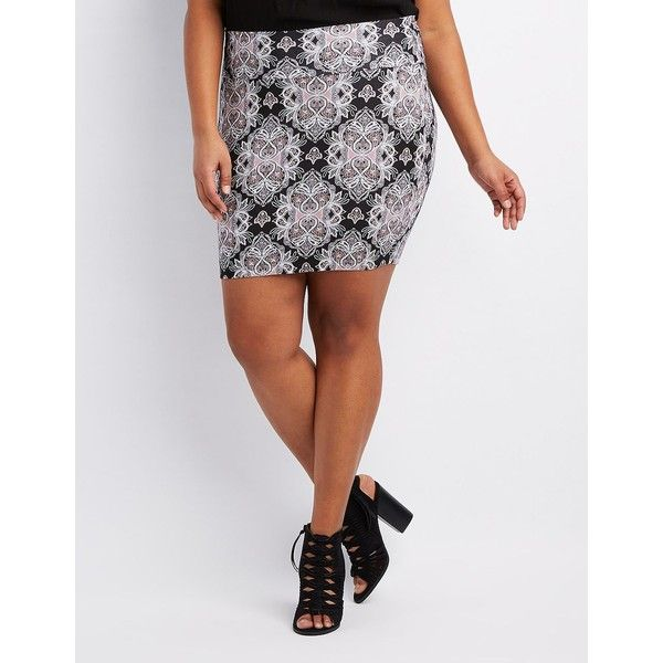Charlotte Russe Paisley Bodycon Mini Skirt ($14) ❤ liked on Polyvore featuring plus size women's fashion, plus size clothing, plus size skirts, plus size mini skirts, bodycon mini skirt, white mini skirt, short mini skirts, mini pencil skirt and white bodycon skirt