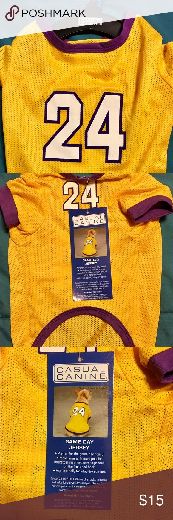 """Kobe Bryant #24 Dog Pet Mesh Jersey Popular basketball numbers screen-printed on the front and back   Material: 100% Polyester   Back: Measure length of pet's back from the base of the neck to the base of the tail. See below for estimating by breed.  Neck: Measure the circumference of pet's neck for a snug fit. No need to add inches as you would with a collar.  Chest/Girth: Measure girth around the broadest part of the chest and add 2"""".   Note: If the dog has a stout build, select one size…"""