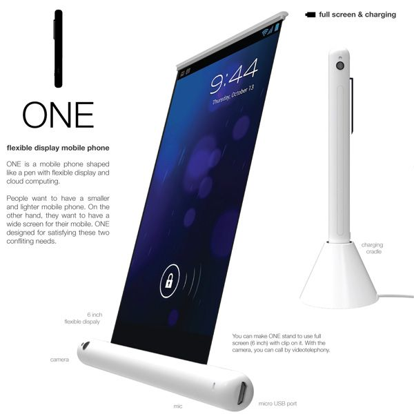 ONE is a mobile phone fashioned as a pen. It hosts a flexible 6-inch display that relies on cloud computing for memory. Designed by Yejin Jeon