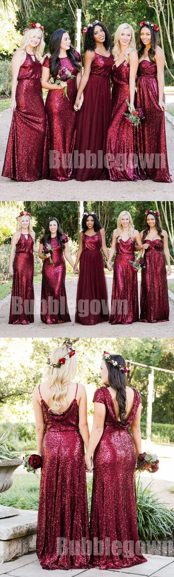 Popular Elegant Mismatched Sequin Tulle Long Wedding Party Bridesmaid Dresses, BD010 #bridesmaids #weddingpartydress
