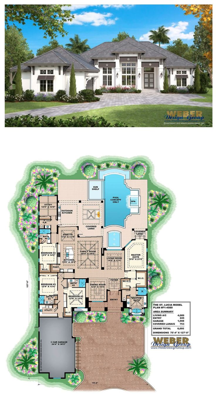This single story, West Indies house plan provides just over 4,000 square feet of living space with four bedrooms, four full baths, one pool bath, formal living and dining areas and a handsome study.   More Beach House Plans:  https://www.weberdesigngroup.com/home-plans/style/beach-house-plans