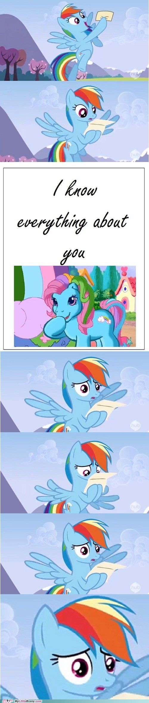 Haha. I remember when Rainbow Dash looked like that. Seriously, the two Rainbow Dashes couldn't be any more different.