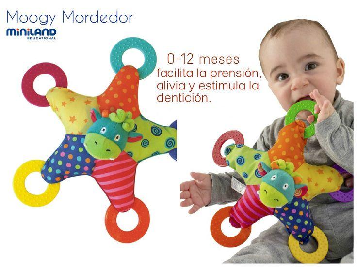 Mordedor Moogy de gran tamaño para facilitar la prensión, original y diferente al resto de mordedores. Su diseño, en forma de estrella colorista, culmina en 5 aros flexibles de colores y texturas contrastados, pensados para aliviar y estimular la dentición, ya que la salida de dientes en los bebés produce molestias en sus encías. http://familycenter.co/juguetes-didacticos-estimulacion-desarrollo/22-mordedor-de-moogy.html